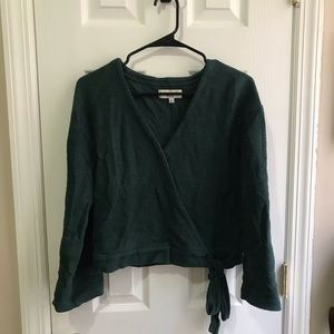 Madewell texture and thread wrap top green